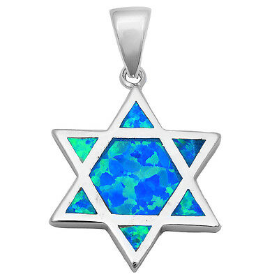 SOLID BLUE FIRE OPAL STAR OF DAVID .925 Sterling Silver Pendant Necklace