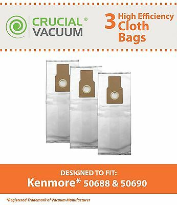 3 Replacements Kenmore Paper Bags Part # 50688 20-5068 20-50681 20-50690