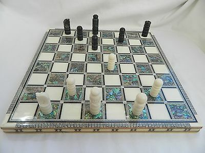 """Egyptian Inlaid Paua Wooden Chessboard Set Synthetic Pieces High Quality 12"""""""