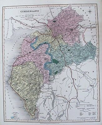 OLD ANTIQUE MAP CUMBERLAND c1850 by J & C WALKER 19th C  HAND COLOURED ENGRAVING