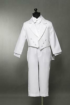 Boy White Tuxedo Formal Suit With Tail Communion Ring Bearer Baptism All Size