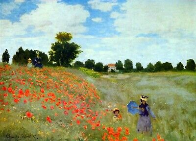 Poppies by Claude Monet Giclee Fine Art Print Reproduction on Canvas