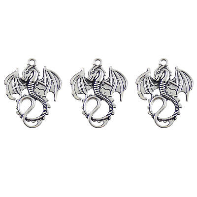 24X Vintage Style Antiqued Silver Tone Dragon Pendants Charms 35*28*2mm