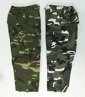 Boys Childrens Camo Camoflauge Trousers Bottoms Pants Green Grey Blue Pockets