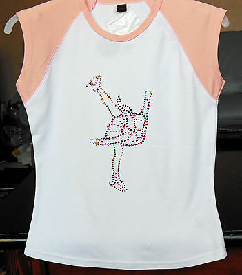NEW GIRLS Quality Ice Skating Dress T-Shirt with Crystal Motif - Ages 7-9,10-12