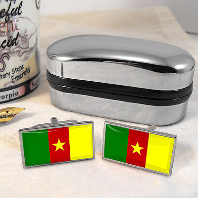 Cameroon Flag Cufflinks & Box