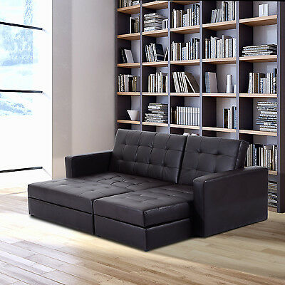 HOMCOM Sectional Sofa Couch Bed Loveseat Daybed Storage Box Faux Leather Brown
