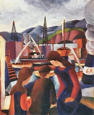 Children at the port (I) by August Macke Giclee Fine Art Print Repro on Canvas
