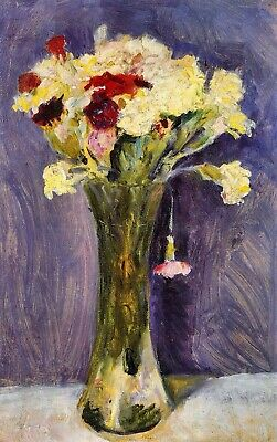 Carnations in a green vase by August Macke Giclee Fine Art Print Repro on Canvas