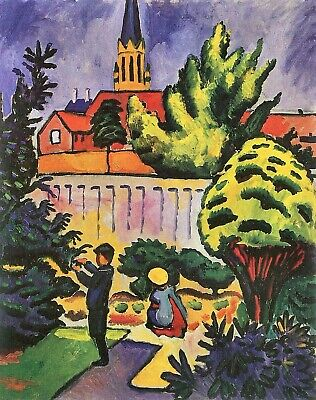 Children in the Garden by August Macke Giclee Fine Art Print Repro on Canvas