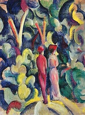 Couple in the forest by August Macke Giclee Fine Art Print Repro on Canvas
