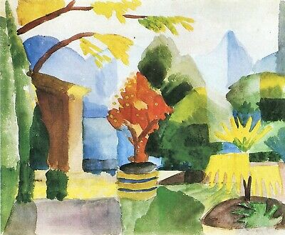 Garden in Hilterfingen by August Macke Giclee Fine Art Print Repro on Canvas