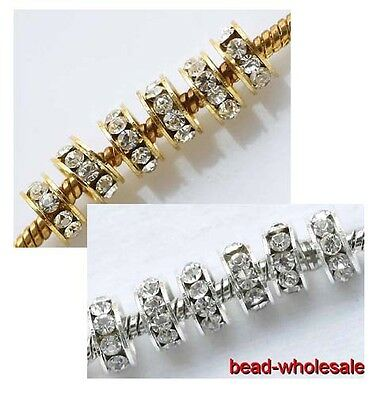 20pcs Rhinestone Crystal Silver/Gold Plated Big Hole Spacer Beads Fit Bracelet