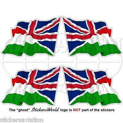 HUNGARY-UK Flying Flag, Hungarian-British Union Jack 50mm Stickers, Decals x4