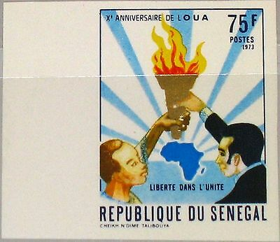 SENEGAL 1973 524 U 391 imperf 10th Ann Org. for african Unity OAU Map Karte MNH