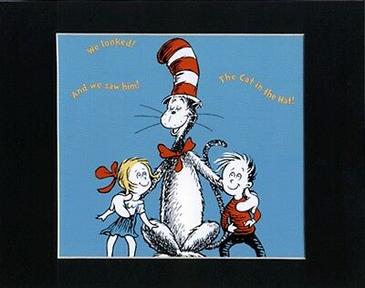 DR. SEUSS~CAT IN THE HAT~8 x 10 Mat Print~TWO LITTLE PALS~NEW