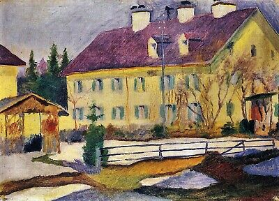 Hospital in Tegern Sea by August Macke Giclee Fine Art Print Repro on Canvas
