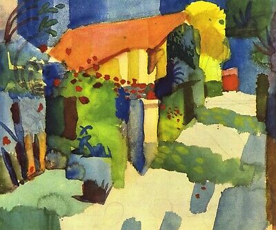 House in the Garden by August Macke Giclee Fine Art Print Repro on Canvas