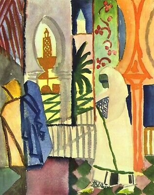In the temple hall [1] by August Macke Giclee Fine ArtPrint Repro on Canvas