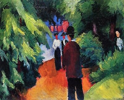 Park on the waterfront by August Macke Giclee Fine Art Print Repro on Canvas