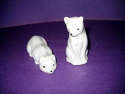 Pair Of Porcelain White Cat Figurines