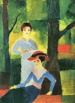 Two girls in the forest by August Macke Giclee Fine Art Print Repro on Canvas
