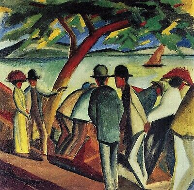 Walking at the lake I by August Macke Giclee Fine Art Print Repro on Canvas