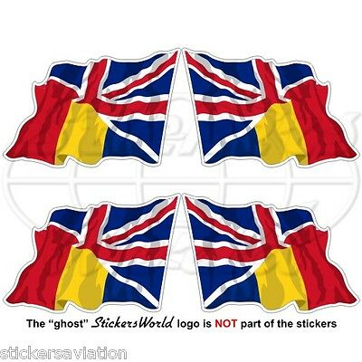 ROMANIA-UK Flying Flag Romanian-British Union Jack 50mm Vinyl Stickers Decals x4
