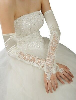 "16"" Extra Long Over elbow Satin Lace Gloves Fingerless Wedding Bridal Party Gift"