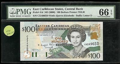 East Caribbean States/ Central Bank - 100 Dollars, 2000. p41d. PMG 66 EPQ