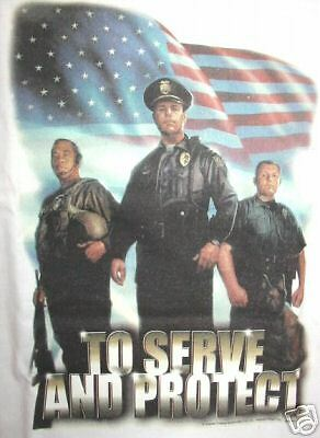 To Serve and Protect Police T-Shirt, Size LG
