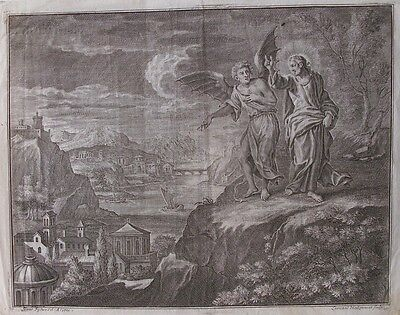OLD PRINT by I FISCHES /  L HECKENAUER c1701 JESUS & SATAN ANTIQUE ENGRAVING