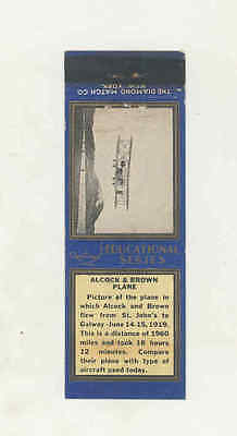 1919s Educational Series Alcock & Brown Airplane Matchbook Cover New York mb1512
