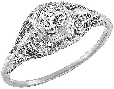 Antique Edwardian  0.35ct Old Mine Cut Diamond 18k White Gold Engagement Ring