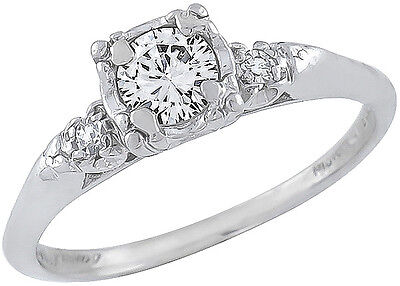 Antique 1920s 0.45ct  Round Cut Diamond Platinum Engagement Ring