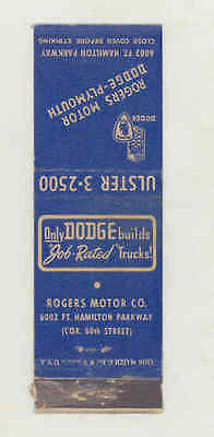 1939 ? Rogers Dodge Plymouth Automobile Matchbook Cover mb1722