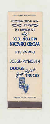 1939 ? Word Duncan Dodge Plymouth Automobile Matchbook Cover Mullens WV mb1729