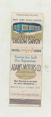 1960 ? Adams Dodge Plymouth Automobile Matchbook Cover Mt. Kisco mb1735
