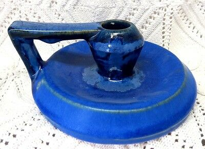 Fulper Early 20Th Century Chamberstick Candlestick In Blue Matte And Gloss