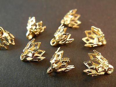 50pc 7mm Gold Plated Filigree Leaf Petal Cone Cage Brass Bead Caps (JA062)