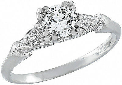 Antique 1920s 0.55ct Round Cut Diamond Platinum Engagement Ring