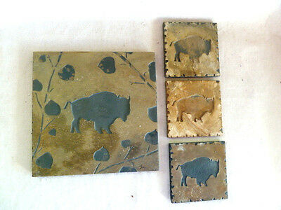 Buffalo / Bison Carved Natural Stone Trivet and 3 Coasters Charles Mason 2001