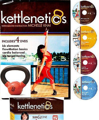 KETTLE Bell KIT: 4 Kettlenetics WORKOUTS + K-BELL 4LB WEIGHT +FREE FITNESS Bonus