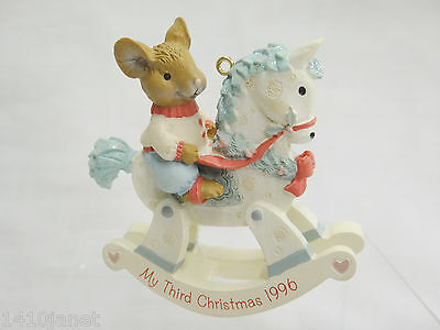 American Greetings My Third Christmas 1996 Ornament Mouse on Rocking Horse