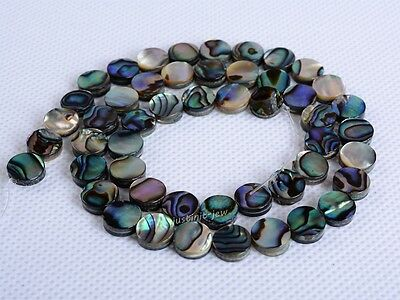 0674 8mm Abalone shell flat coin disc loose beads 16""