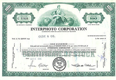 USA Interphoto Corporation alte Aktie 1971 dekorativ Foto Film