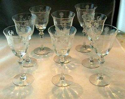 TIFFIN GLASS PERSIAN PHEASANT (OPTIC) CLARET WINE GOBLETS