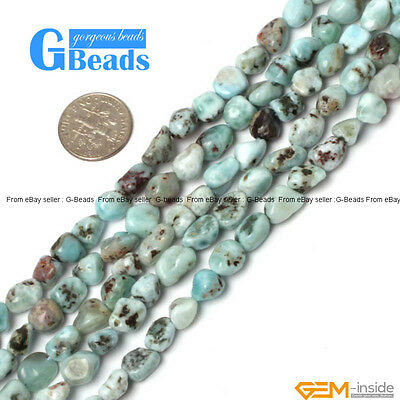 Natural 7-8mm Larimar Gemstone Freeform Nugget Beads For Jewelry Making 15""