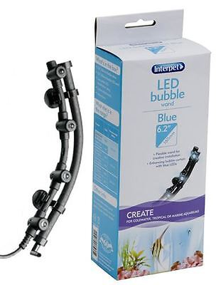 Interpet Aquarium LED Light & Bubble Wand Airstone Blue 16cm Fish Tank