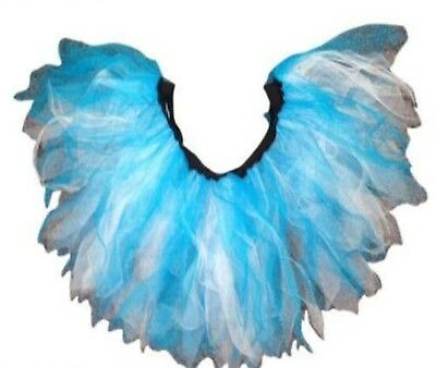 Neon Tutu 4 Layer Blue White 80S Fancy Dress Fun Run Hen Party Uv Rave Costume